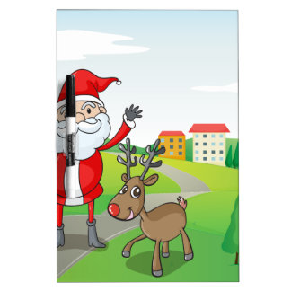 a santa claus and a reindeer dry erase board