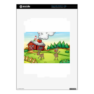 a santa claus and a reindeer iPad 2 decals