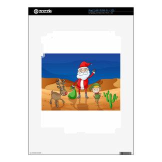 a santa claus and a reindeer iPad 2 skins