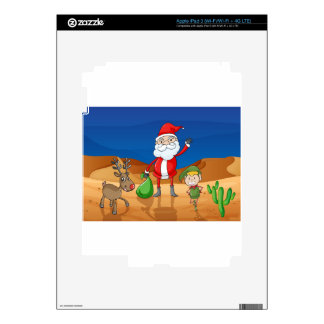 a santa claus and a reindeer iPad 3 decals