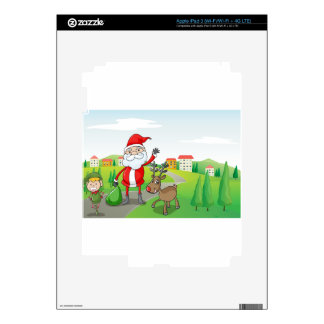 a santa claus and a reindeer iPad 3 skin
