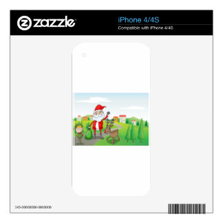 a santa claus and a reindeer iPhone 4 skin