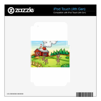 a santa claus and a reindeer iPod touch 4G skins