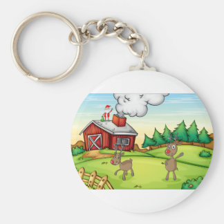 a santa claus and a reindeer keychain