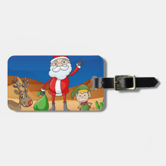 a santa claus and a reindeer luggage tag