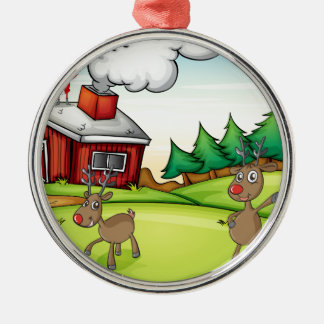 a santa claus and a reindeer metal ornament