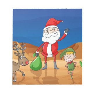 a santa claus and a reindeer notepad
