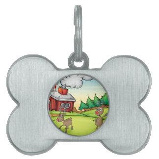 a santa claus and a reindeer pet ID tag