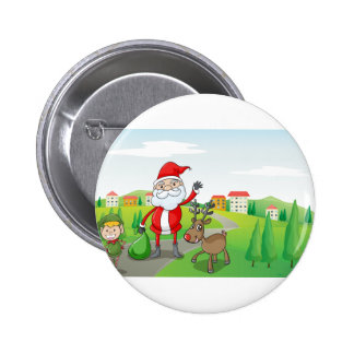 a santa claus and a reindeer pinback button
