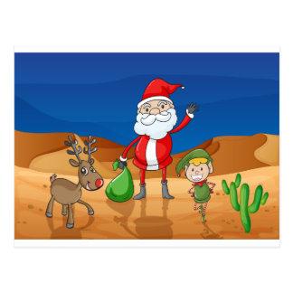 a santa claus and a reindeer postcard