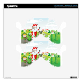 a santa claus and a reindeer PS3 controller skin