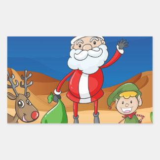 a santa claus and a reindeer rectangular sticker