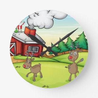 a santa claus and a reindeer round clock