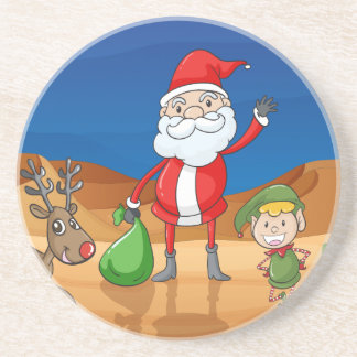 a santa claus and a reindeer sandstone coaster