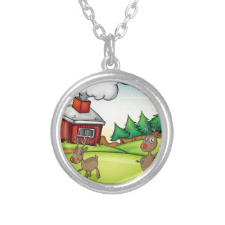 a santa claus and a reindeer silver plated necklace