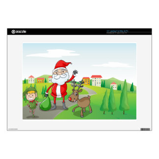 """a santa claus and a reindeer skin for 15"""" laptop"""