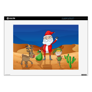 a santa claus and a reindeer skin for laptop