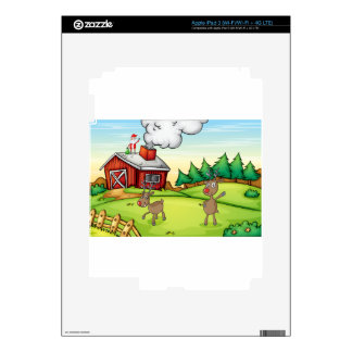 a santa claus and a reindeer skins for iPad 3