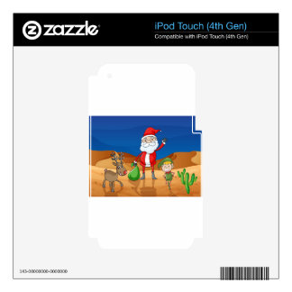 a santa claus and a reindeer skins for iPod touch 4G