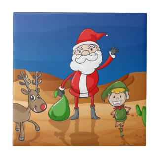 a santa claus and a reindeer tile