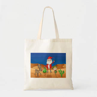 a santa claus and a reindeer tote bag