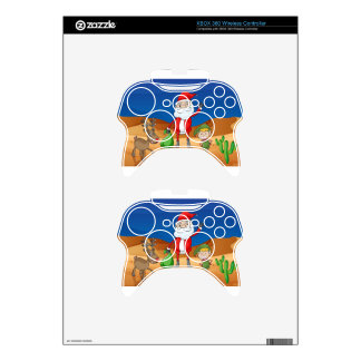 a santa claus and a reindeer xbox 360 controller decal