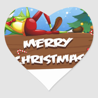 A Santa frog above the christmas signboard Heart Sticker