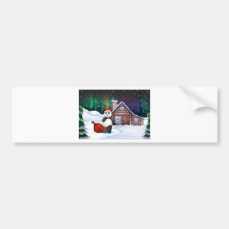 A Santa panda with a red sack full of gifts Car Bumper Sticker