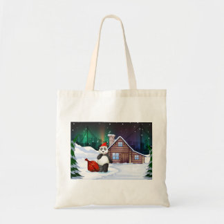A Santa panda with a red sack full of gifts Tote Bag