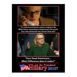 A Sarcastic Look at Hillary for President 2016 Postcard