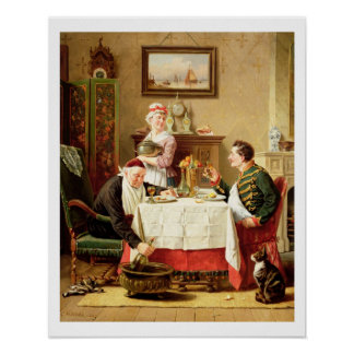 A Satisfying Meal, 1883 (oil on  canvas) Poster