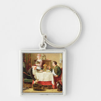 A Satisfying Meal, 1883 (oil on  canvas) Silver-Colored Square Keychain