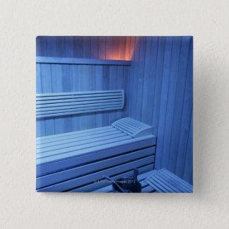 A sauna in blue light, Sweden. Button