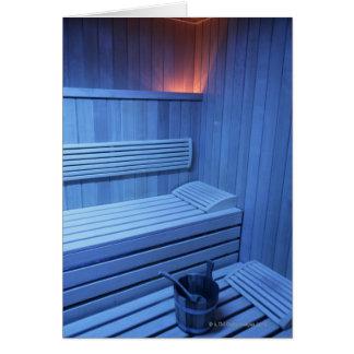 A sauna in blue light, Sweden. Card