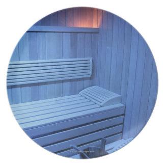 A sauna in blue light, Sweden. Dinner Plate