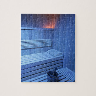 A sauna in blue light, Sweden. Jigsaw Puzzle