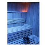 A sauna in blue light, Sweden. Post Card