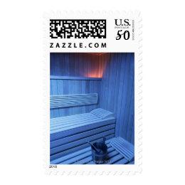 A sauna in blue light, Sweden. Postage