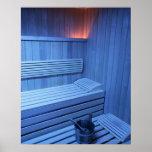 A sauna in blue light, Sweden. Poster