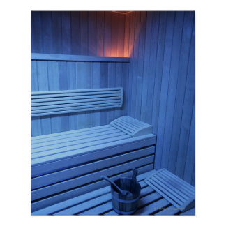 A sauna in blue light, Sweden. Print
