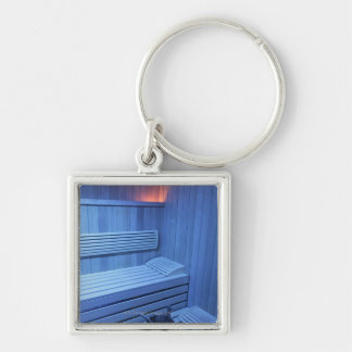 A sauna in blue light, Sweden. Silver-Colored Square Keychain
