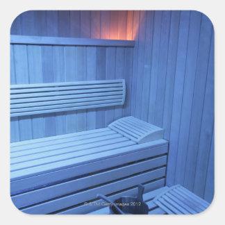 A sauna in blue light, Sweden. Square Sticker