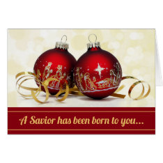 A Savior Has Been Born Christmas Ornament Nativity Card at Zazzle