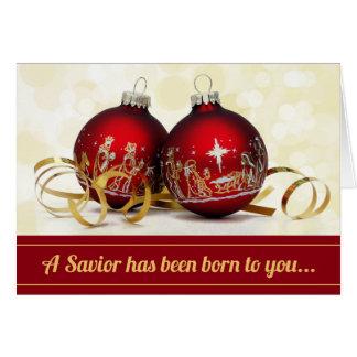 A Savior Has Been Born Christmas Ornament Nativity Card