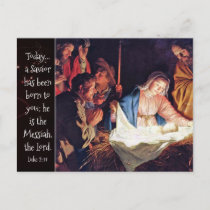 A Savior has been Born, Luke 2 Christmas Nativity Holiday Postcard
