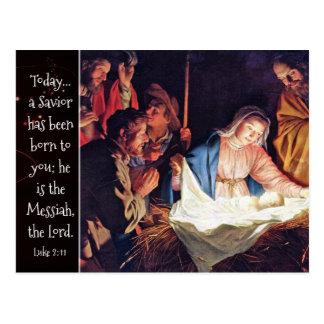 A Savior has been Born, Luke 2 Christmas Nativity Postcard