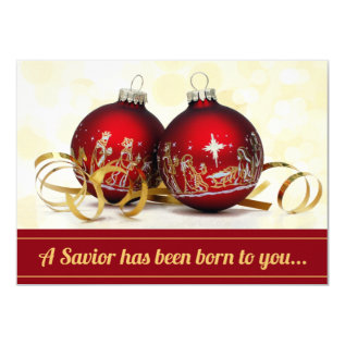 A Savior Has Been Born Nativity Christmas Ornament Card at Zazzle