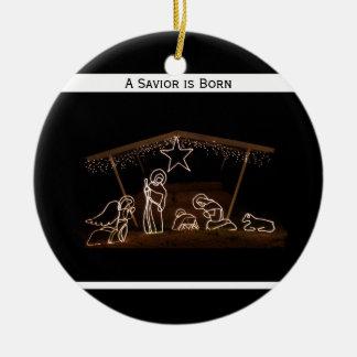 A Savior is Born Religious Christian Christmas Ceramic Ornament