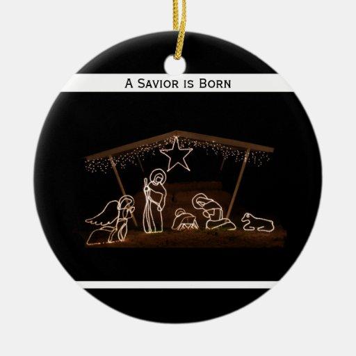 Savior is born religious christian christmas ceramic ornament