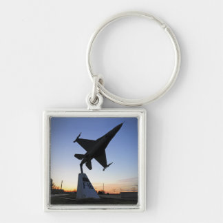 A scale model of an F-16 C Fighting Falcon Keychain